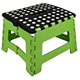 One Step Folding Plastic Stool | Portable Fold Up Footstool for Kitchen, Bathroom, Toilet, Caravan | for Children, Kids, Adult | Collapsible, Non Slip - Medium Black & Green