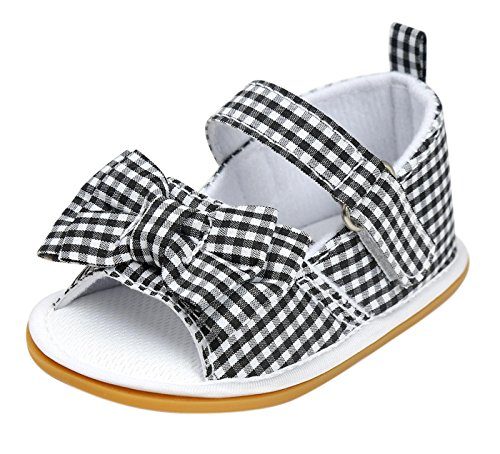 Happy Cherry Girls Princess Crib Shoes Baby Boys Lightweight Sandals Flat Slippers Damier Graphite 11 (Graphite Damier)