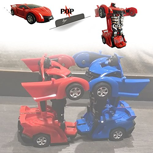 XHAIZ Toy Cars, Transformers One-Step, 2-pack (001 Red and Blue)