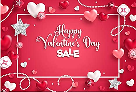 10x10FT Vinyl Photography Backdrop,Valentine`s Day,Hearts and Swirls Background for Graduation Prom Dance Decor Photo Booth Studio Prop Banner