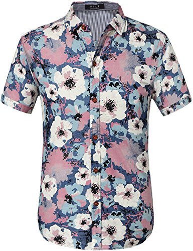 (SSLR Men's Printed Casual Short Sleeve Denim Button Down Shirt (Large, White Pink))
