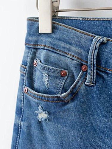 Alta Jeans Elástico Azul WanYang Mezclilla Vaqueros Jeans Impresión Denim Pantalones Mujeres Cintura wfqUS7v