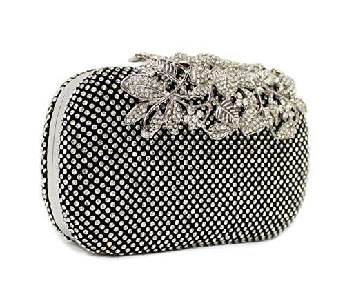 Flower Crystal Women Clutch Gold Color Evening Bags Wedding Handbag Rhinestones Party Purse black