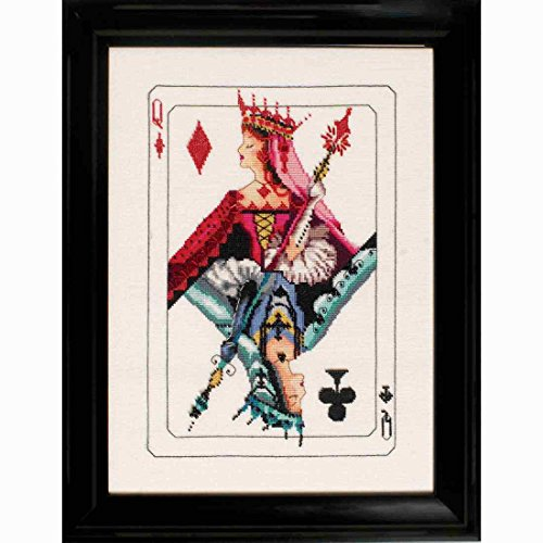 Diamond Nora (Royal Games Queen of Diamonds AIDA Beaded Counted Cross Stitch Kit by Nora Corbett Mirabilia Designs MD154 (Bundle: Chart, Fabric, Beads, Braid))