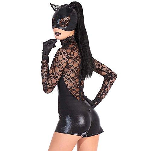 Schwarzes PU-Bodysuit mit Spitzen-Handschuh -Kostüm