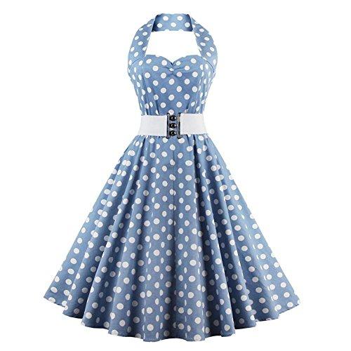 Vestido de Oscilación de Lunares Azul Vintage de las Mujeres Vestido de Fiesta Sexy Halter Cinturón Blanco(S)