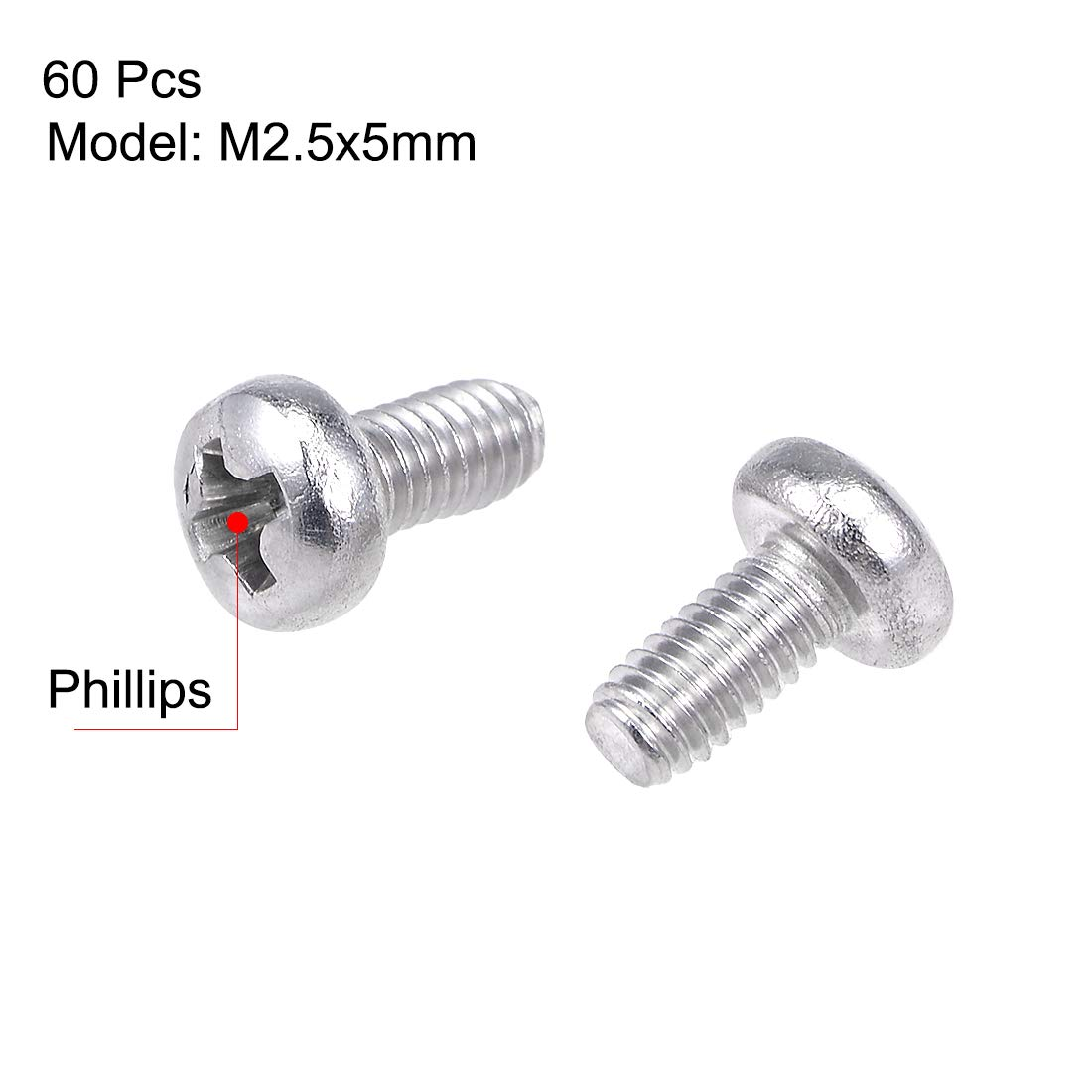 uxcell M2.5x5mm Machine Screws Pan Phillips Cross Head Screw 304 Stainless Steel Fasteners Bolts 100Pcs