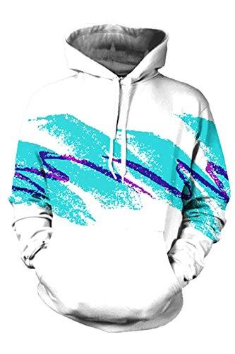 Pink Queen Graffiti Printed Big Pockets Drawstring Hoodie Sweatshirt Size L