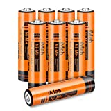 iMah AAA Rechargeable Batteries, Also Compatible with Panasonic Cordless Phone Battery 1.2V 550mAh HHR-55AAABU and 750mAh HHR-75AAA/B, HHR-4DP KX-TGEA40B KX-TGE433B KX-TGE445B KX-TG7875S, Pack of 8