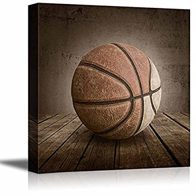 Swish! Basketball Rustic Square Sport Panel - Celebrating American Sports Traditions - Canvas Art Home Art - 12x12 inches