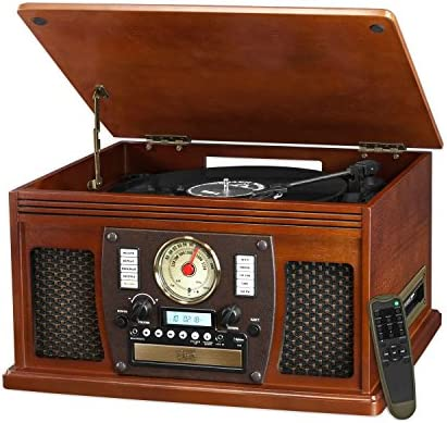 it.innovative technology Victrola Nostalgic Aviator Wood 8-in-1 Bluetooth Turntable Entertainment Center, Mahogany Renewed