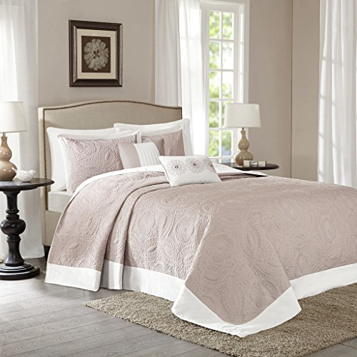 Madison Park MP13-2630 Ashbury 5Piece Reversible Bedspread Set Queen , Khaki, Queen,Khaki,Queen