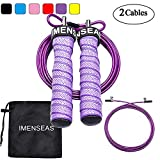 IMENSEAS Speed Jump Rope Steel Wire Adjustable Jumping Ropes 2 Cable -1 Heavy and 1 Light Cable for Kids Men & Women Great for Double Unders, Crossfit Training, Boxing, and MMA Workouts Purple