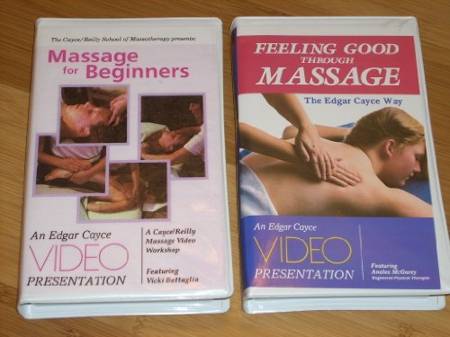 Set of 2 Edgar Cayce based Massage Videos: MASSAGE FOR BEGINNERS (1991 VHS) 60 min workshop featuring Vicki Battaglia using technique from the Edgar Cayce readings. FEELING GOOD THROUGH MASSAGE THE EDGAR CAYCE WAY featuring Analea McGarey, 55 min