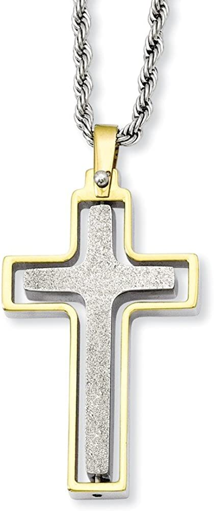 Perfect Jewelry Gift Stainless Steel Yellow IP-plated Laser Cut Moveable Cross Necklace