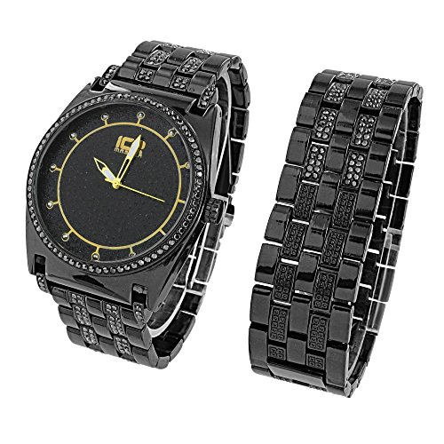 Mens Black Watch Ice Master Lab Diamonds Matching Bracelet Gift Set 46 MM Black Dial