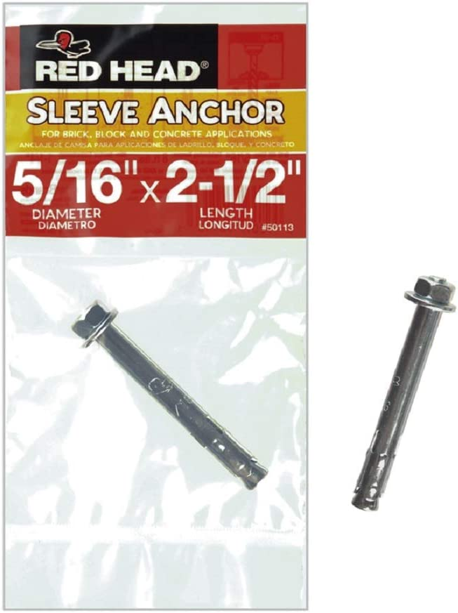 Set of 7 5//16 x 2-1//2 SGL CT Hex Sleeve Anchor