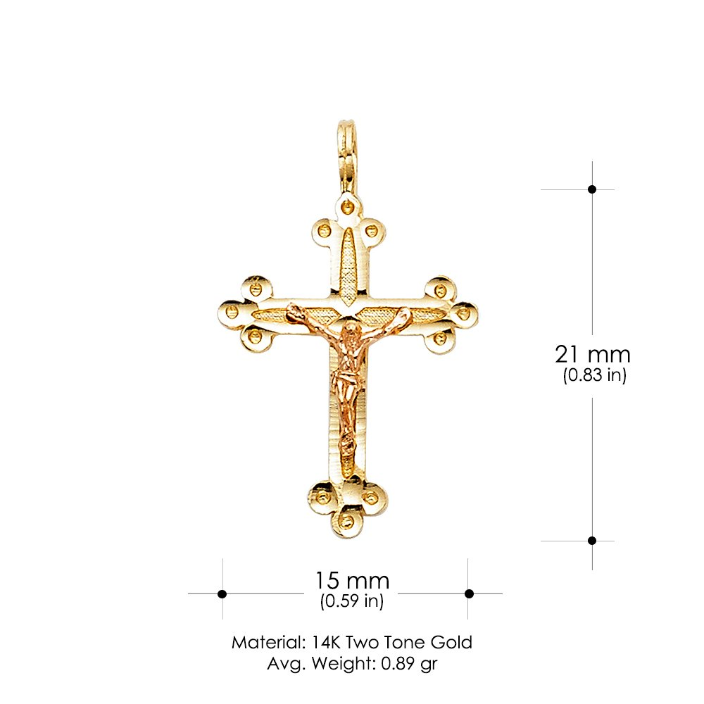 Ioka 14K Two Tone Gold Religious Crucifix Charm Pendant For Necklace or Chain