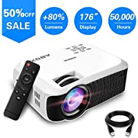 Projector, 2018 Updated ABOX T22 Portable Home Theater LCD Video Projector Support 1080p HDMI USB SD Card VGA AV Phone Laptops for Home Cinema TV 60 ANSI Lumen White
