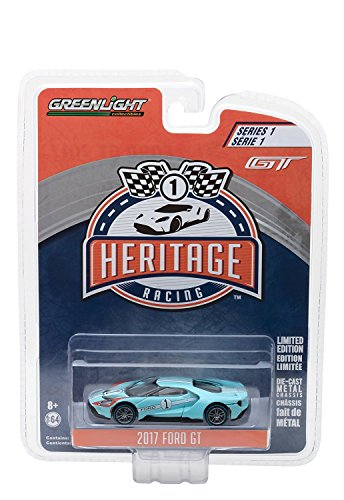 Kit Toy Car Diecast Greenlight 1:64 Heritage Racing Series 1 - 2017 Ford GT - 1966 #2 Ford GT40 Mk II Tribute Blue Color Limited Edition