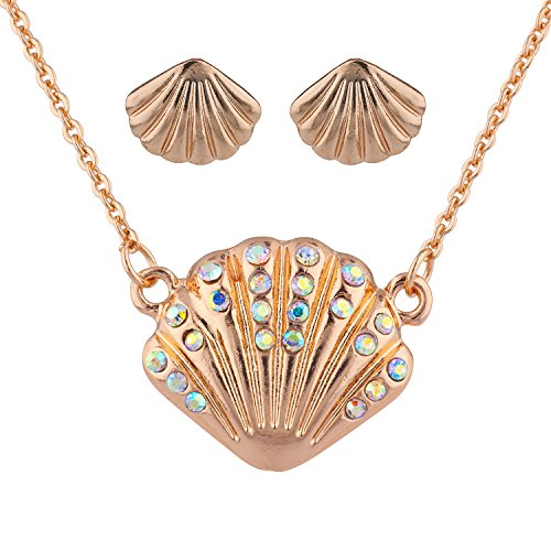- Lux Accessories Rose Goldtone AB Stone Seashell Pendant Necklace Earrings Set 2