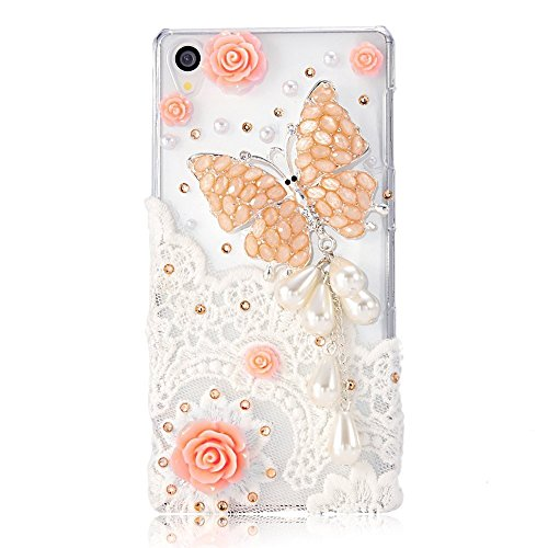 STENES Sony Xperia L1 Case - 3D Handmade Crystal Big Butterfly Pearl Pendant Rose Flowers Sparkle Rhinestone Design Cover Case for Sony Xperia L1 Retro Dust Plug - Orange