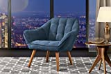 Accent Chair Living Room, Linen Arm Chair Tufted Detailing Natural Wooden Legs (Blue)