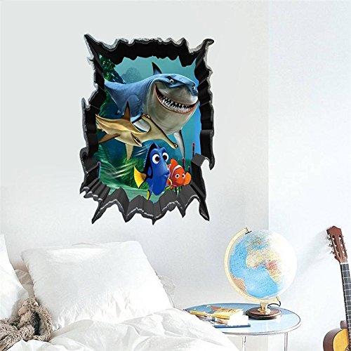 Genric Dory Nemo Shark 3D Window Wall Sticker Kids Room Decoration DIY Print Mural Art Fish Home Decals Posters