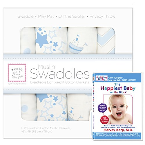 SwaddleDesigns Cotton Swaddle Blankets Happiest