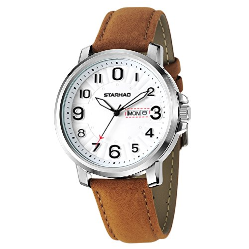 PALADA Mens Analog Quartz Wrist Watch with All Stainless Steel Case and Brown Leather Band