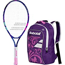 """Babolat B'Fly 23"""" Inch Pink Junior Girl's Tennis Racquet/Racket Set or Kit Bundled with a Junior Club Purple/Pink Backpack (Perfect for Tennis and School)"""