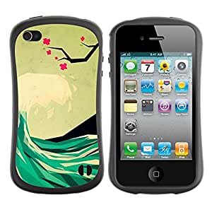 Fuerte Suave TPU GEL Caso Carcasa de Protección Funda para Apple Iphone 4 / 4S / Business Style Poly Art Surf Hawaii Sea