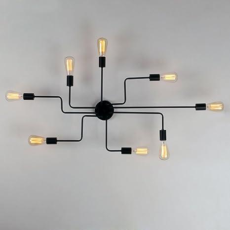 Unitary Brand Black Metal Steel Art Dining Room Flush Mount Ceiling Light  With 8 E26 Bulb