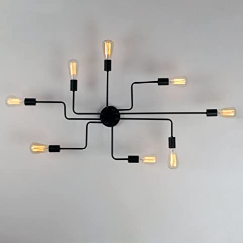 Unitary brand black metal steel art dining room flush mount unitary brand black metal steel art dining room flush mount ceiling light with 8 e26 bulb mozeypictures Images
