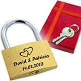 Cadenas d'amour avec votre personnalisation - Gravure de votre choix - Livré dans un écrin rouge avec ruban - A offrir en cadeau de déclaration d'amour