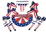 Patriotic Decorations Set: LED Solar Lights, Red White and Blue Bows, American 12 ft Banner with 10 Pennants. America glittered sign.