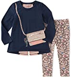 Juicy Couture Girls' Tunic Legging Set-Purse, Blue Heather/Silver Pink/Printed Stripe, 12M