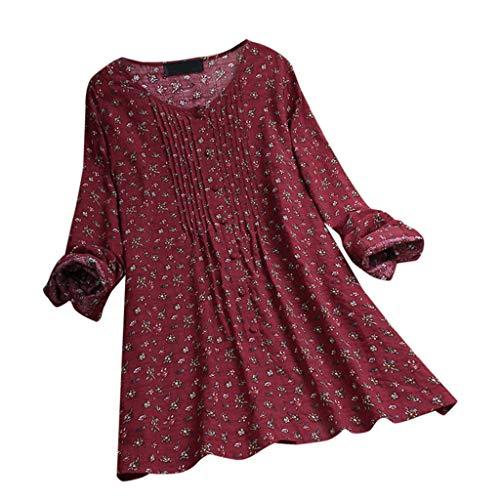 (Aniywn Women Plus Size Linen National Tunic T-Shirt Loose Plus Size Boho Swing Long Tops Blouse)