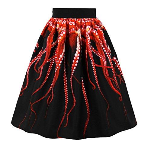 Sharplace Noir Maxi poulpe demoiselle de 3D soire femme d'honneur de Jupe Imprim robe TTSwqrd7