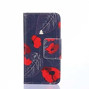 Galaxy S6 funda , Samsung Galaxy S6 funda , Lifetrust® Todos Nuevo Choque Tecnología Absorción cuero martillado lujo De pie de cuero del funda con ranuras para ID / tarjetas bancarias Resistente a Arañazos funda para Samsung Galaxy S6 [ Pétalos Rojos ]