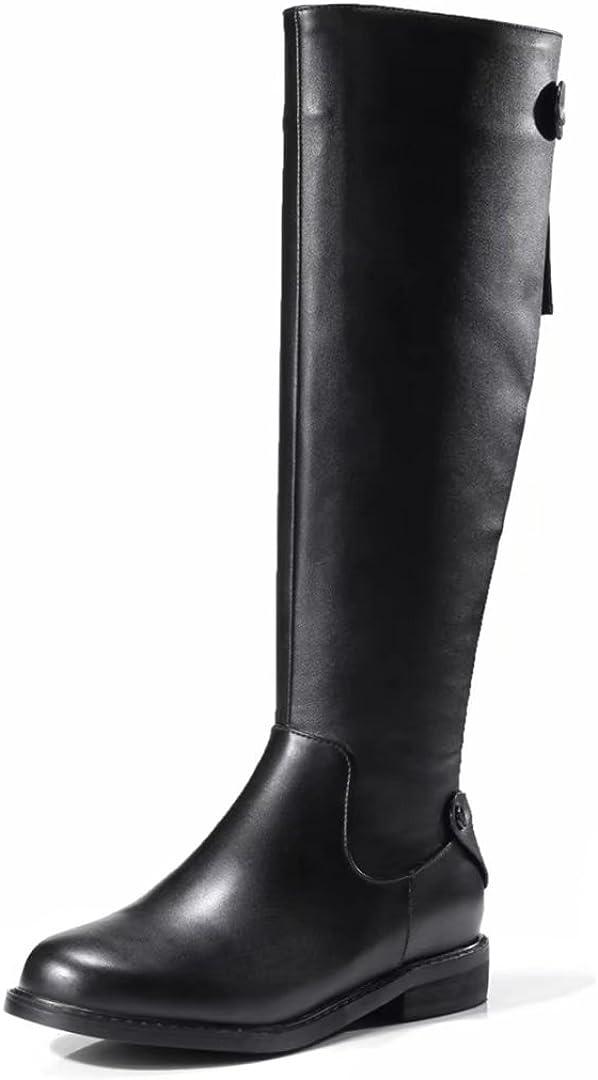 VIMISAOI Womens Black Fashion Low Heel Round Toe Riding Boots