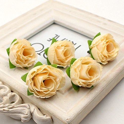 Artificial Flowers Mini Rose Flower Head Wedding Party Christmas Olympics Home Decoration Multicolor Craft Ornaments 3.6cm 30pcs (champagne)