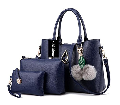 Alidear New Brand and 2018 New Women's Handbag Tote Purse Shoulder Bag Fashion Top Handle Designer Bags for Ladies Deep Blue by Alidear