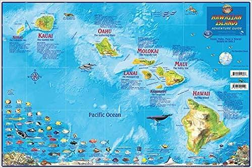 Hawaii Map Poster Hawaiian Islands Adventure Map Laminated ... on map explorer, map police, map zoom,