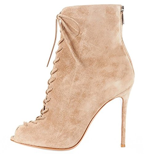 Up Boots Ankle Beige Comfity Toe Women's Peep Heels Lace Stiletto High wW0TO