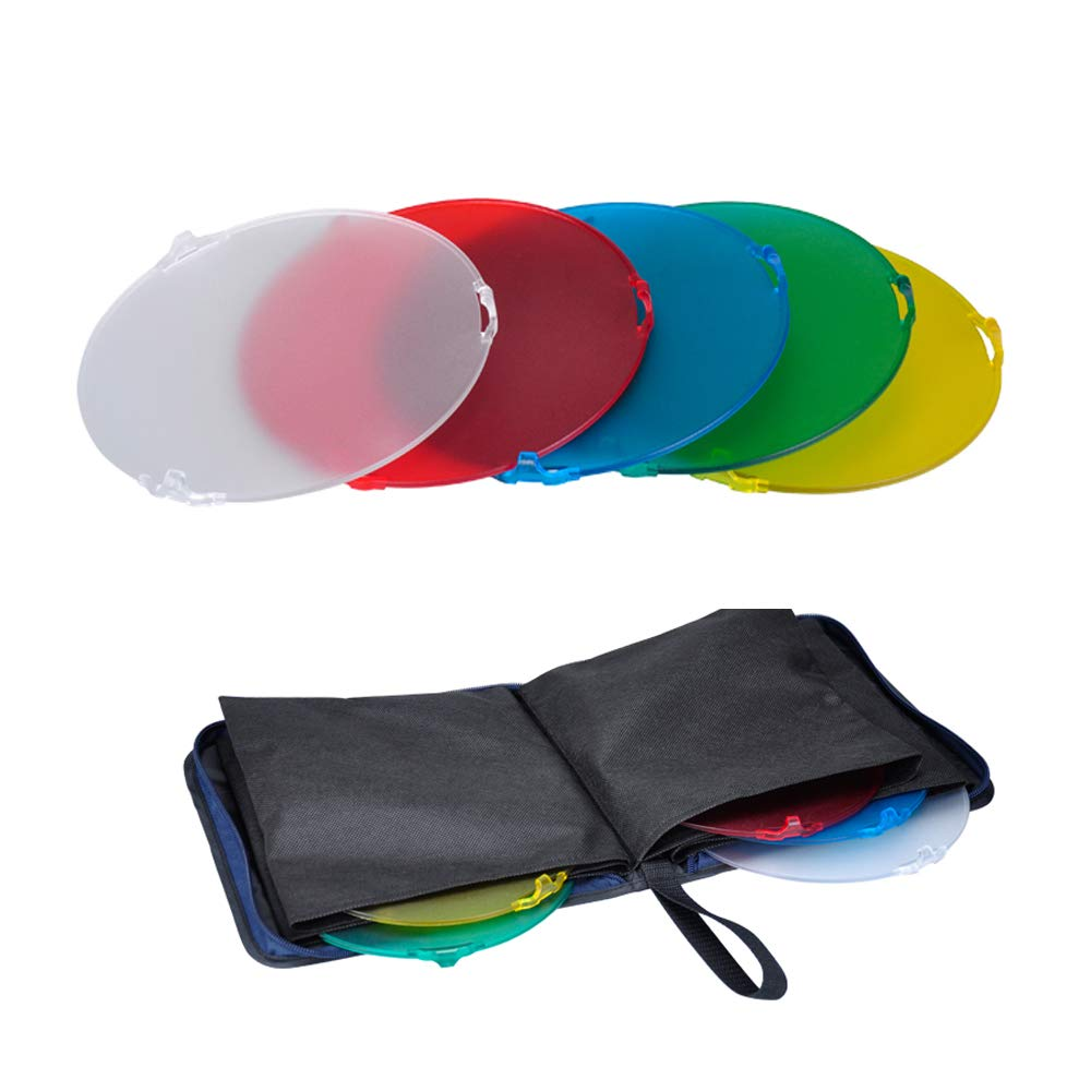 NiceFoto SN-518 Studio Lighting Accessories Color Filter Kits (White, Yellow, Red, Blue, Green) for Standard Reflector
