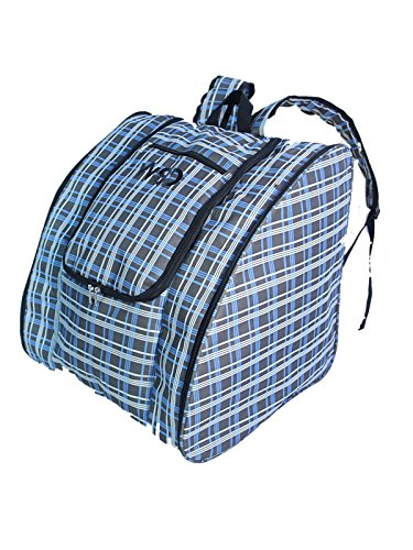 Ski Snowboard Boots Backpack Winter Snow Sports Boot Gear Backpack (Gray/Blue Plaid)