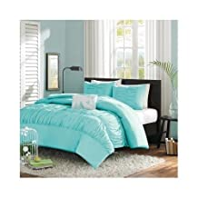 Modern Blue Teal Comforter Bedding Set with Shams and a Pillow Includes Scented Candle Tart (king)