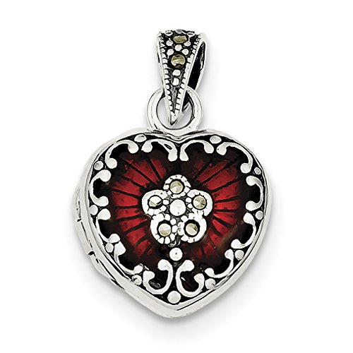 Marcasite Heart Locket Pendant - 925 Sterling Silver Red Enamel Marcasite Heart Locket Pendant