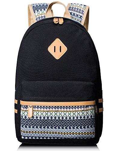 Leaper Casual Lightweight Canvas Laptop Bag Cute School Backpack Bookbag (Black)